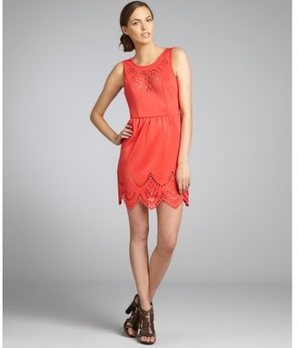 Romeo & Juliet Couture coral stretch knit laser cut sundress