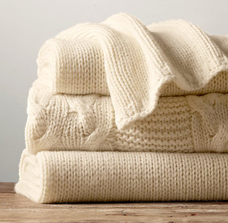 Restoration Hardware Italian Wool & Alpaca Knit Throw - Ivory