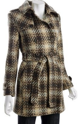 DKNY brown wool plaid double breasted coat