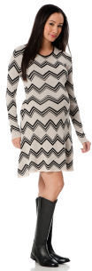 A Pea in the Pod BCBG Long Sleeve Exposed Zipper Maternity Dress