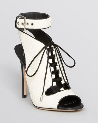 Brian Atwood Lace Up Open Toe Sandals - Lodosa High Heel
