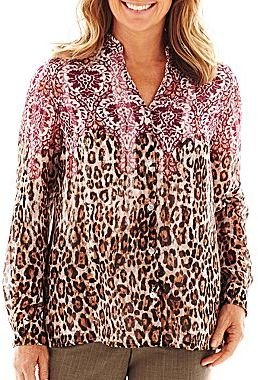 Alfred Dunner Circle Oaks Animal Scroll Woven Top