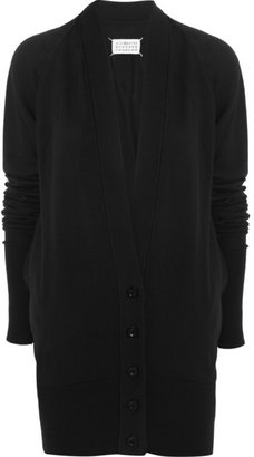 Maison Martin Margiela Oversized leather-trimmed cotton cardigan