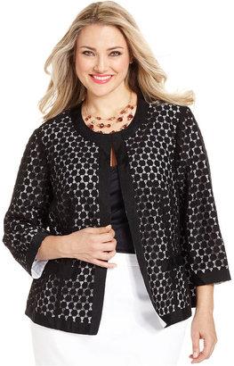 Charter Club Plus Size Jacket, Lace Swing