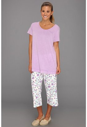 Karen Neuburger Michelle My Belle S/S Combo Pullover Crop PJ (Floral Purple) - Apparel