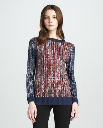 Tory Burch Hutton Mixed-Print Sweater