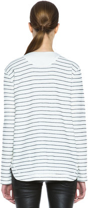 Alexander Wang French Rib Cotton-Blend Baseball Tee in Ivory and Onyx