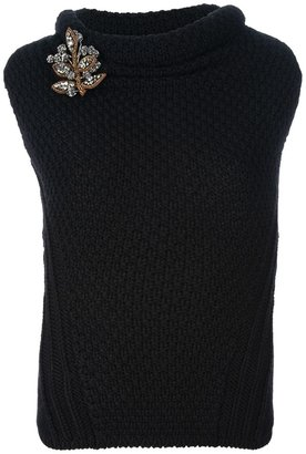 DSquared Dsquared2 knitted top with brooch detail
