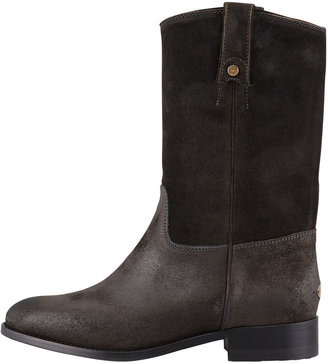 Jimmy Choo Hudson Suede Pull-On Bootie, Charcoal