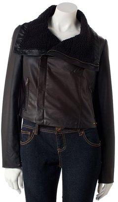 JLO by Jennifer Lopez faux-leather motorcycle jacket - petite