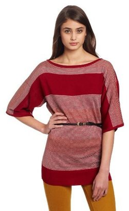My Michelle Juniors Belted Stripe Top