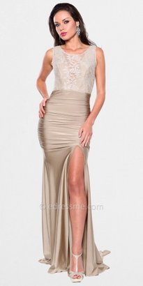 Atria High-Necked Lace Illusion Side Slit Gowns