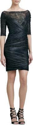 Monique Lhuillier Half-Sleeve Lace & Tulle Cocktail Dress
