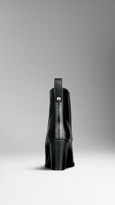 Burberry Polished Leather Ankle Boots