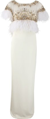 Marchesa Embroidered Feather Detail Gown