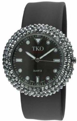TKO Women's Crystal Slap Watch with Colorful Silicone Rubber Wrist Strap