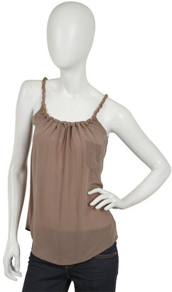 Chelsea Flower Washed Silk Crepe Rouched Neck Tank with Pocket in Driftwood or Black
