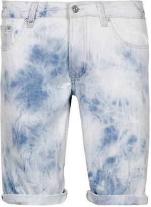 Topman Blue Denim Tie Dye Shorts