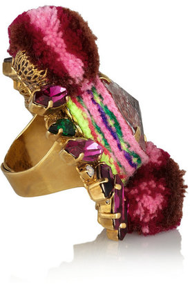 Swarovski MARIO TESTINO FOR MATE by VICKISARGE gold-plated, crystal and pompom ring