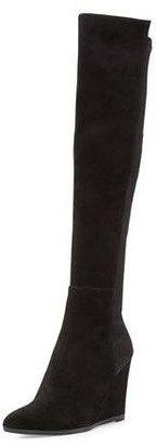 Stuart Weitzman Demivoom Suede/Stretch Wedge Boot, Black $698 thestylecure.com