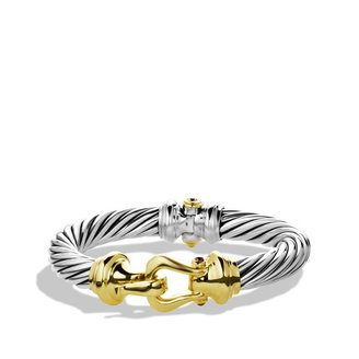 David Yurman Cable Buckle Bracelet with Rhodolite Garnet and Gold