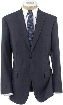 Jos. A. Bank Traveler Tailored Fit 2-Button Suit with Plain Front Trousers- Blue/Grey Sharkskin