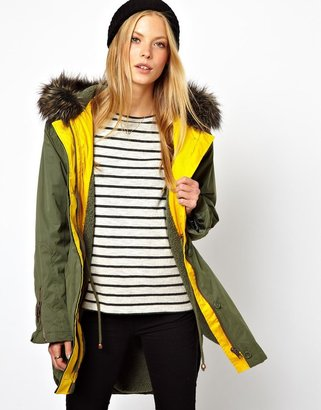 Asos Parka with Contrast and Fur Lining