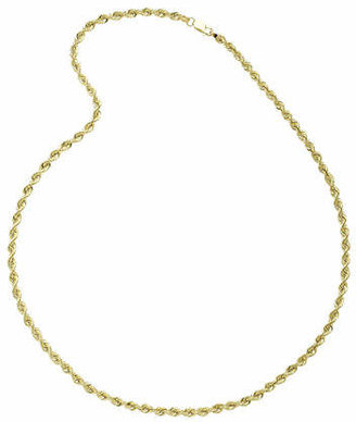 """10K Yellow Gold 24"""" Hollow Rope Chain Necklace Family"""