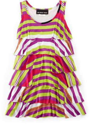 Un Deux Trois Tier Stripe Dress, Magenta/Lime, 7-14Y