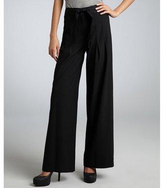 Elie Tahari black stretch wool 'Deanna' pleated wide leg pants