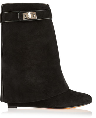 Givenchy Shark Lock Black Suede Wedge Ankle Boots