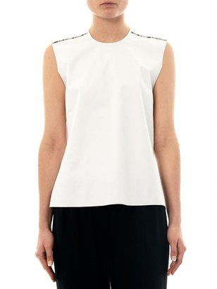 Helmut Lang Embossed-leather and cotton-blend top