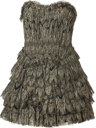 Jay Ahr Black/Gold Lace and Tulle Dress