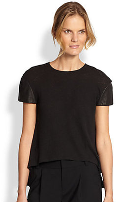 Alice + Olivia Leather-Sleeve Tee