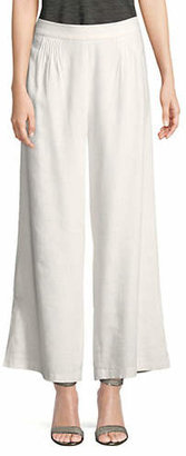 Halston H Pintuck Wide-Leg Ankle-Length Pants