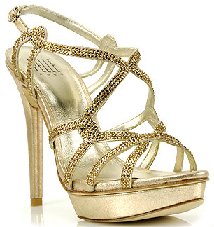 Pelle Moda Flirt - Gold Metallic Leather Rhinestone Platform Sandal