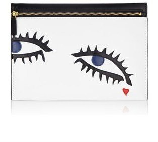 Lulu Guinness White Eye Leather Naomi Clutch