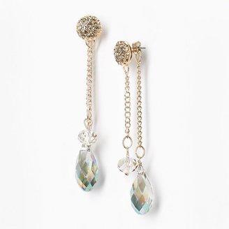 Vera Wang Simply vera gold tone simulated crystal & bead linear drop earrings