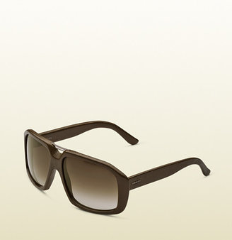 Gucci Large Rectangle Frame Sunglasses In Leather With Small Brow Bar Detail And Logo On Temples.