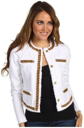 MICHAEL Michael Kors Baja Denim White Fray Jacket (White) - Apparel
