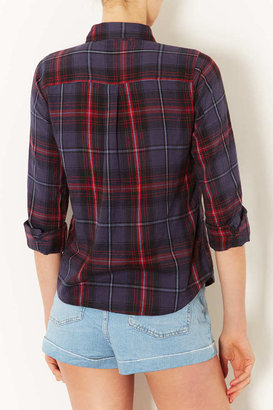 Topshop Navy Blue Check Shirt