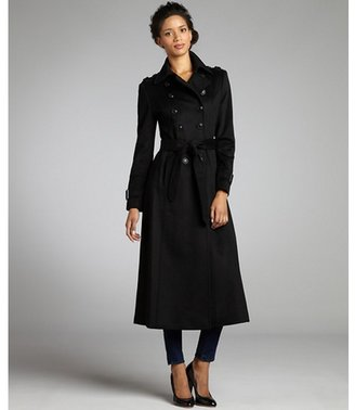 DKNY black wool blend double breasted long coat
