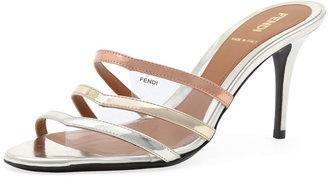 Fendi Metallic Leather & PVC Slide, Champagne/Powder