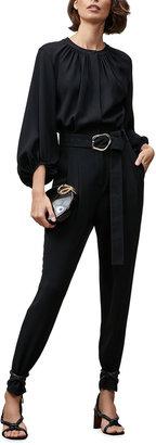 Lafayette 148 New York Ellis Blouson-Sleeve Crepe Belted Jumpsuit