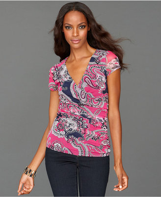 INC International Concepts Petite Top, Cap-Sleeve Faux-Wrap Printed Ruched