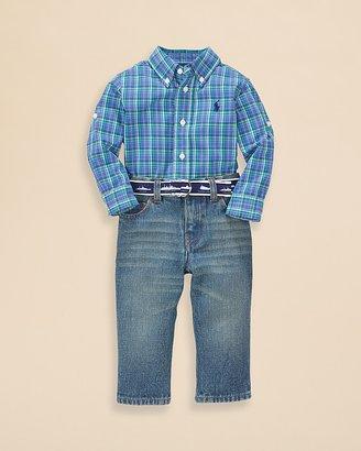 Ralph Lauren Infant Boys' Poplin Plaid Shirt & Jean Set - Sizes 9-24 Months