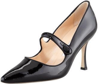 Manolo Blahnik Campari Patent Leather Mary Jane, Black
