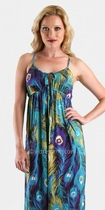 VOOM by Joy Han Peacock Print Long Casual Dresses From