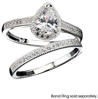 Avon Sterling Silver Pear Shaped CZ Pavé Engagement Ring