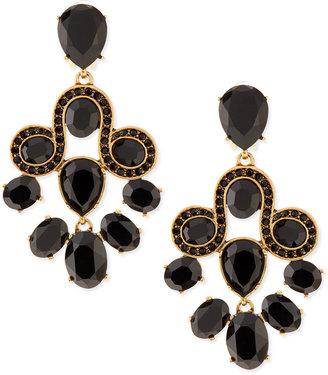 Oscar de la Renta Golden & Faceted Crystal Chandelier Earrings